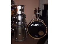 Sonor Drum Kit - 4 piece Shell pack in Silver