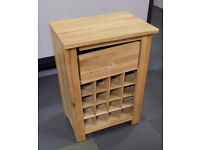 Solid Oak Wooden Wine Rack With Drawer 86x59x40cm (Damaged possibly repairable)