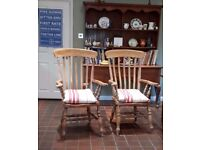 Pair of large hardwood farmhouse Carver chairs.