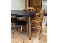 Two Farmhouse Tall Wooden Curved Back Bar Stools / High Chairs