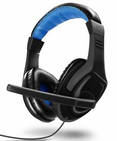 Gaming Headset - Fosmon Over-Ear 3.5mm Plug PC Headphones Built-In Microphone Inline Audio Control