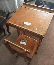 Vintage child's wooden desk and chair