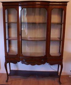 Edwardian Inlaid Mahogany Glass-fronted Display Cabinet