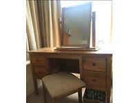 Wooden desk vintage look with mirror