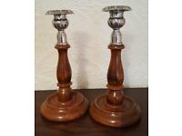 Pair of Vintage 1950s / 60s wood and metal candlesticks