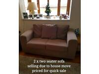 2x two-seater Sofas/couchs OPEN-2-OFFERS