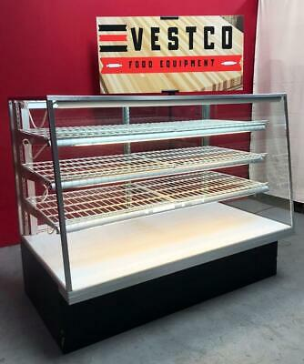 60w Angled Front 3-tier Lighted Glass Dry Bakery Display Case With Storage