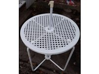 White Garden Table with a cover & rusty parasol - Collect Only Stockport