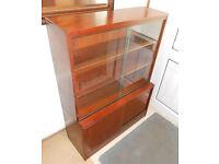 Display Case, Bookcase, Bookshelves, Sliding Glass Doors