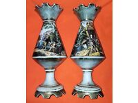 Pair of Italian Vases with Renaissance Images and Weathered Gold Finish