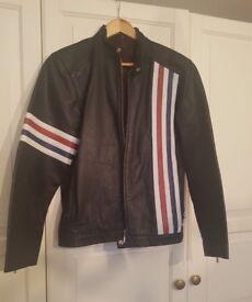 Men's Leather Motorcycle Jacket - Red White & Blue Stripe Biker jacket