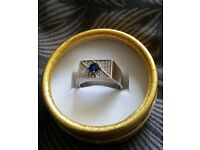 Sapphire and Zirconia (crystal) Engraved ring **BRAND NEW**
