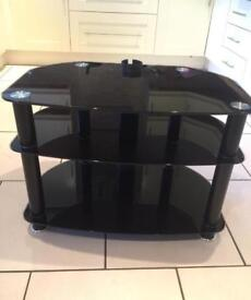 TV Stand - Modern Black Glass