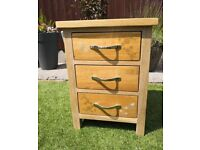 3 Drawer Oak Chest - One of a kind.