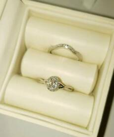 H.Samuel Solid 9ct White Gold Morganite & Diamond Perfect Fit Bridal Set. Sz L. 375 Hallmarked