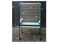 Large parrot / bird cage on casters, with top and side opening, removable tray for cleaning