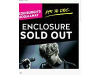 Paolo Nutini Edinburgh 30th Dec sold out enclosure with hotel