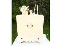 Vintage Antique Art deco Painted Tallboy Linen Cupboard Drawer Shabby Chic Oak