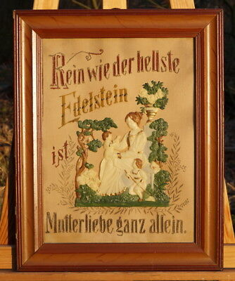 Handgesticktes Picture behind Glas Mother's Love Wall with Applications Rarity