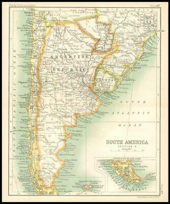 c1912 Map of SOUTH AMERICA SECTION 3 Argentine Republic Uruguay Regions (BS71)