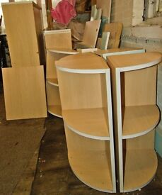 Barely used,beech Kitchen Carcases, curved end units,40+items.Please phone for more info.