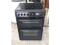 6 MONTHS WARRANTY Black Hotpoint HAE60 60cm, double oven electric cooker FREE DELIVERY