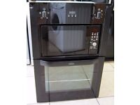 Belling BI90FMW Black Built In Electric Oven / Microwave Combi with 6 Month Cover