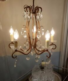 Elegant Vintage French Chandelier from SW France in Working Order Complete With Bulbs
