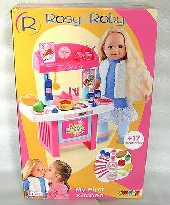 Smoby Rosy & Roby My First Dolls Kitchen Playset with 17 Accessories - NIDB