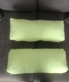2x Lime Green Bolster Cushions