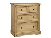 New Solid Corona Mexican Pine 2 over 2 drawer Large Chest of drawers ��99