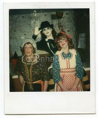 Three Lovely Ladies Women in Halloween Costumes Make-Up Vintage Polaroid Photo - Halloween Costumes Three