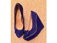 Cobalt Blue Ladies Wedge Shoes. Excellent Condition.