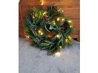 NEW John Lewis pre-lit Spruce & Pine Wreath Diam.61 cm