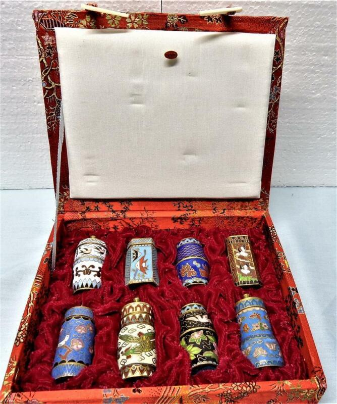 Set Of 8 Cloisonne Brass & Enamel Snuff Pill Boxes In Beautiful Box SORG