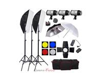 900w Studio Flash Lighting Set (3 X 300w) Photography Strobe Light Portrait Kit