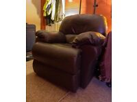 Faux Brown Leather Reclining Armchair - Free
