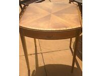 Small inlaid wood dining table