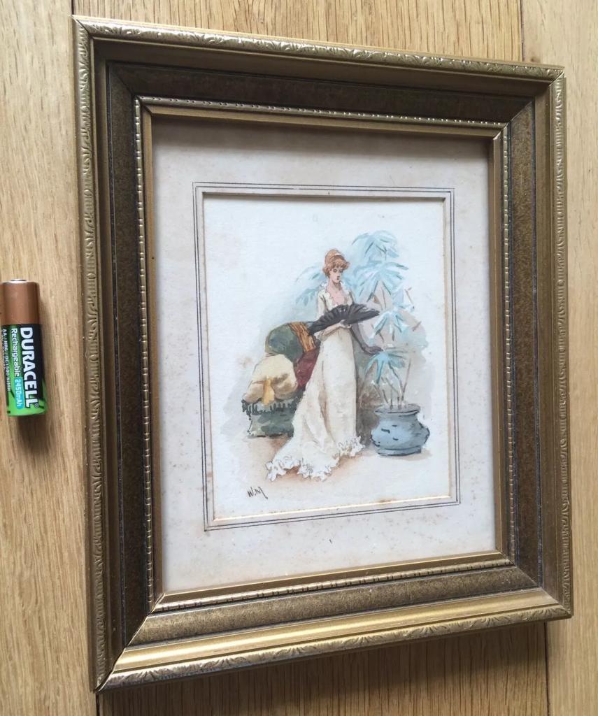 Antique Watercolour Painting Art Nouveau Lady & Fan Gilt Wood Frame ...