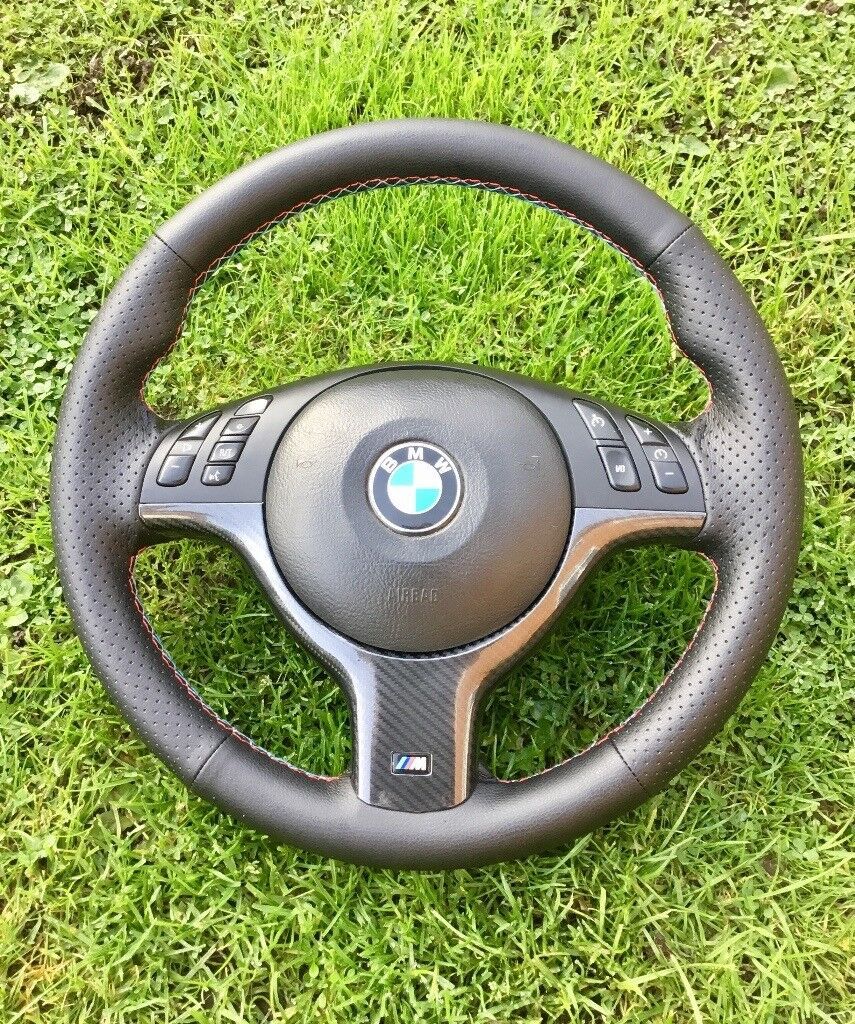 BMW msport carbon steering wheel tri colour stitching new leather