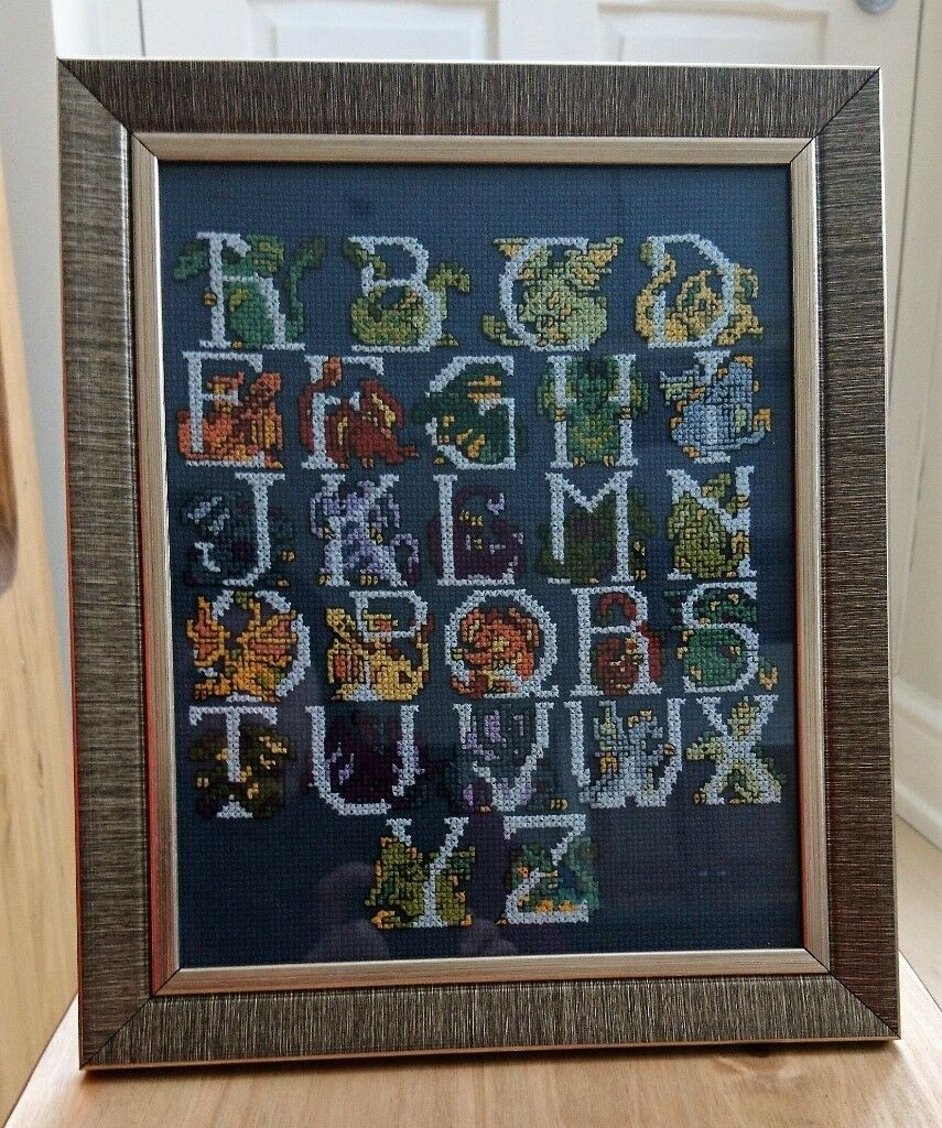 Handstitched Dragon Alphabet Picture with Frame ~ perfect as gifts ...
