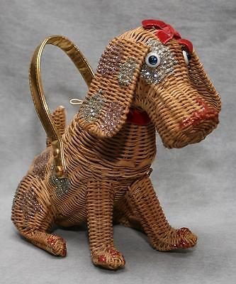 Ultra Rare Vintage Midas of Miami Wicker Dog Purse Handbag ~ Adorable