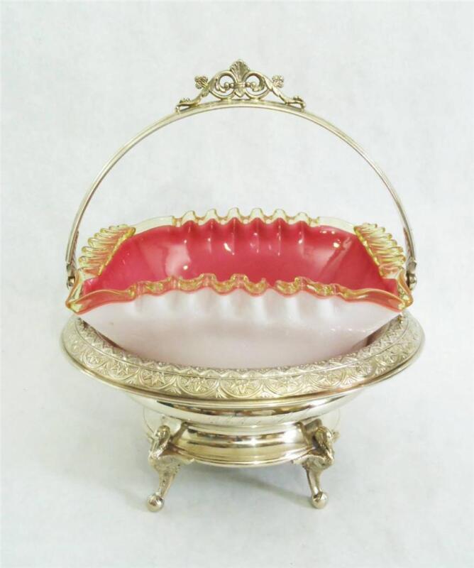 Antique Victorian Bride's Basket Peachblow Vaseline edge bowl Swans