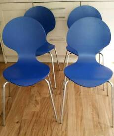12 blue stacking chairs £5.00 each