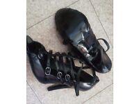 faith black buckle detail heels
