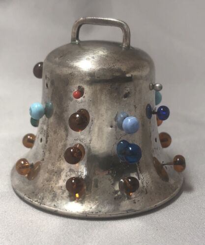 c 1890 VICTORIAN Antique STERLING SILVER Figural BELL Sewing PIN CUSHION