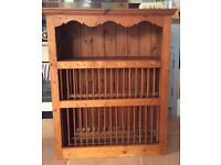 Beautiful antique pine plate rack
