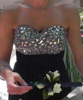 Black evening gown with detailed bodice