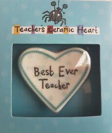Teacher Gift..Thank You Ceramic Heart..Best Ever Teacher