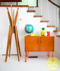 G PLan E Gomme Mid Century sideboard vinyl storage record cabinet on coloured hairpin legs